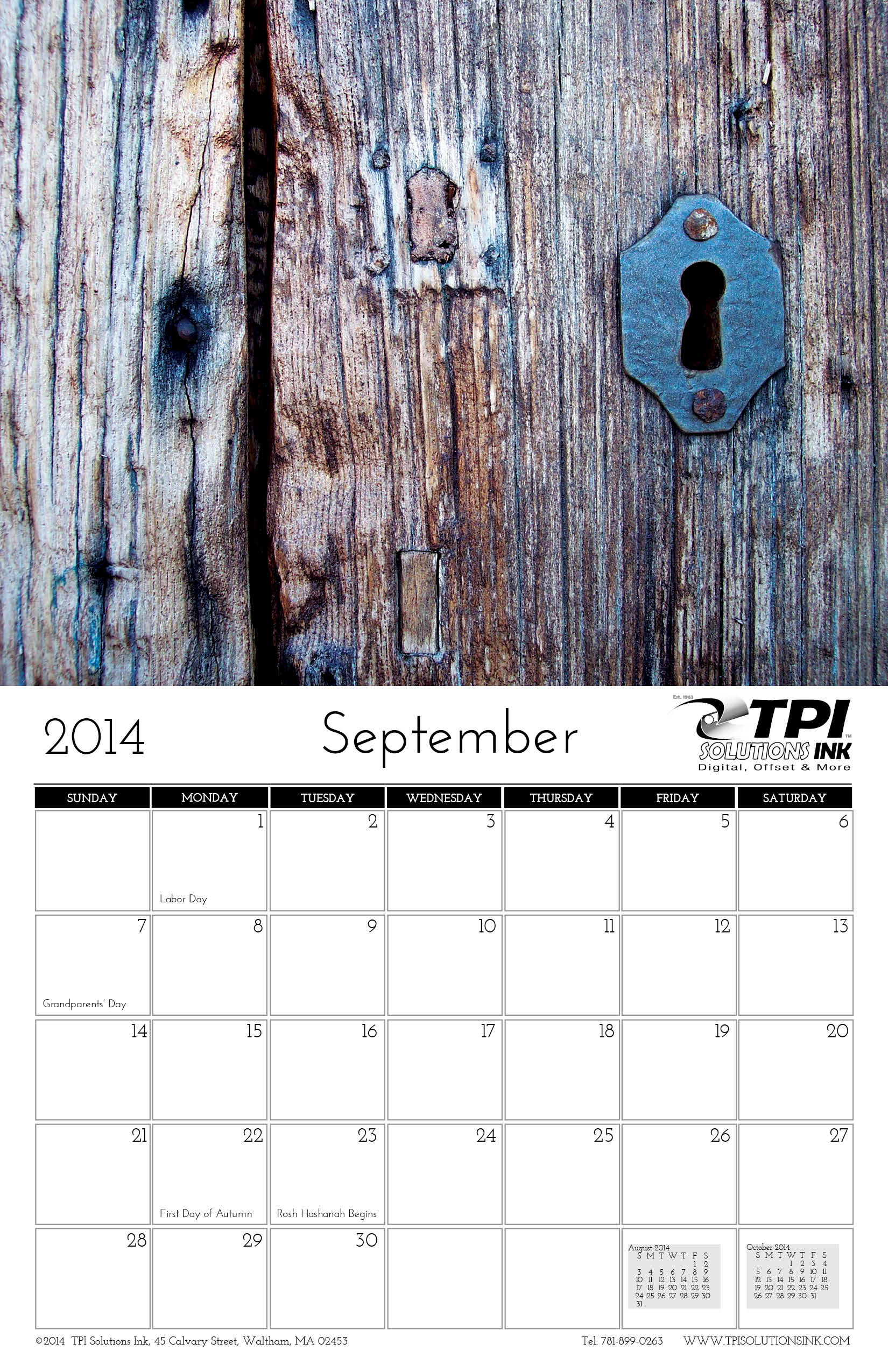 September 2014 Calendar TPI Solutions Ink