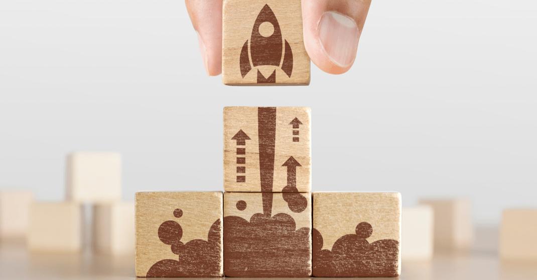 Creative idea rocket launch