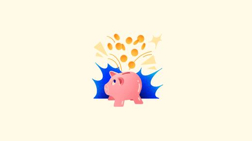 Ilustración de hucha de cerdito con monedas