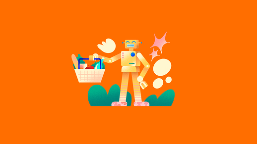 Illustration of robot carrying a shopping basket