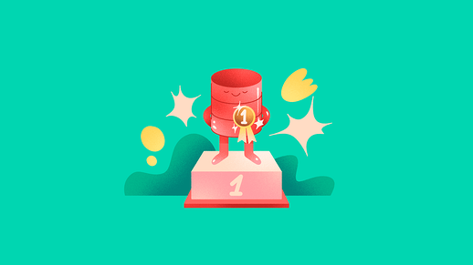 Illustration of a database with a first prize medal on a turquoise background