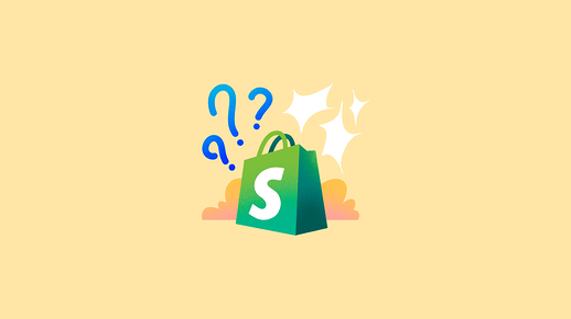 Shopify logo with interrogation marks