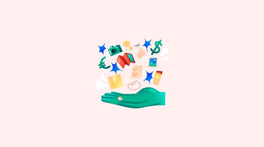 Hand with digital file symbols on orange background