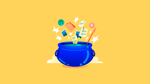 A magic cauldron with lots of digital files