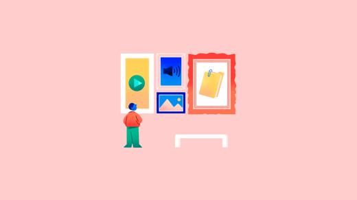Ilustración de persona contemplando cuadros