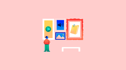 Illustration of person looking at paintings on a pink background