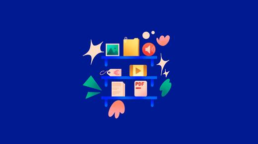 Ilustración de estanterías con archivos digitales sobre fondo azul