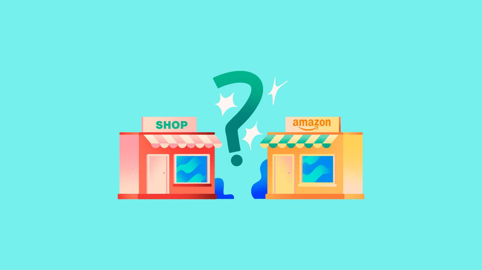 A physical shop and an Amazon shop with an interrogation mark
