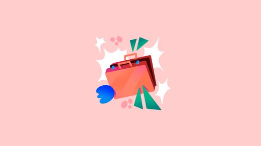 Ilustración de maletín abierto sobre fondo rosa