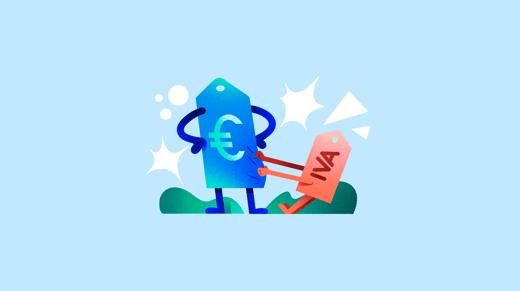 Ilustración de etiquetas de precio y IVA sobre fondo azul
