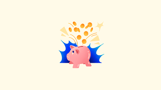 Illustration of piggy bank with coins