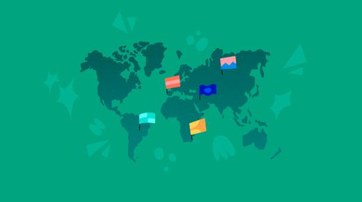 Mapamundi con banderas sobre fondo verde