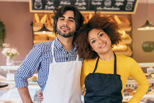 woman and man bakery business owners