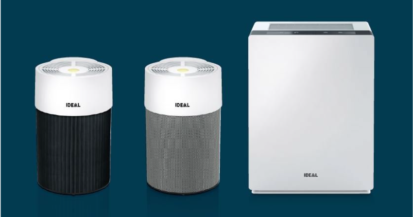 Three air purifiers made by Ideal on a blue background