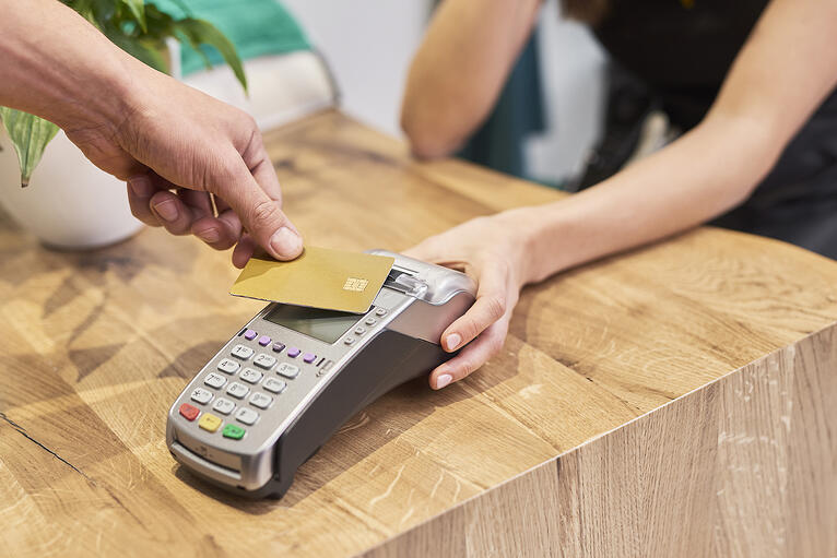paying with card machine