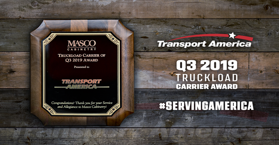 Transport America Named Premiere Carrier for Q3 2019 from MASCO Cabinetry