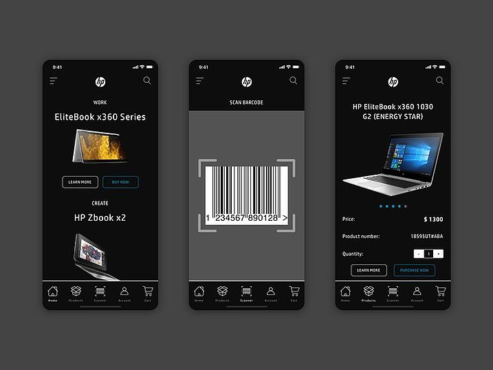 Barcode scanner concept for HP - feature for B2B eCommerce | Divante