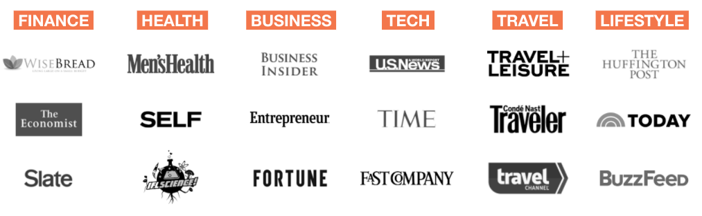publisher logos in various verticals