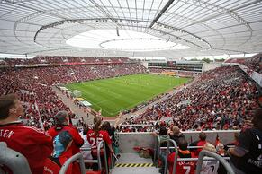The stadium of Bayer Leverkusen on a game day.