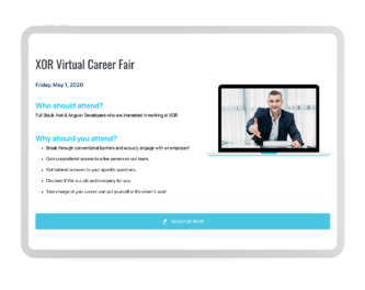 virtual career fairs landing pages