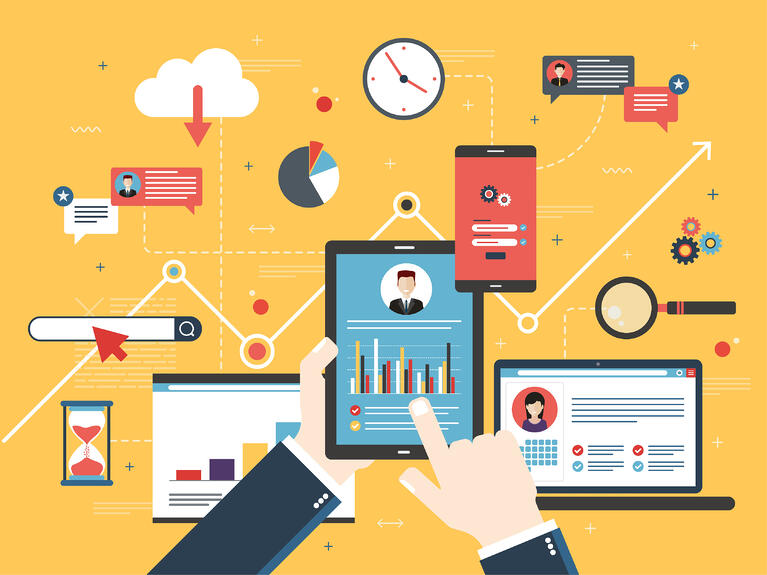 Technology icons connected in a managed services provider plan