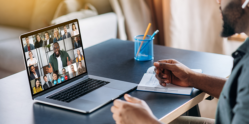 virutal meeting on laptop