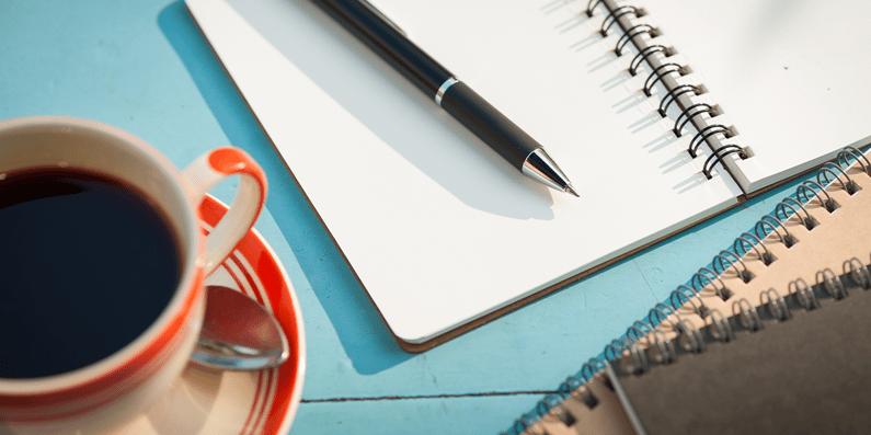 Coffee, notebook