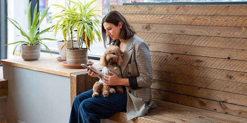 Millenial woman with dog