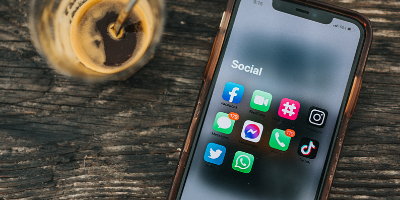 Social media applications on cell phone