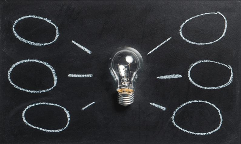 Light bulb with idea chart
