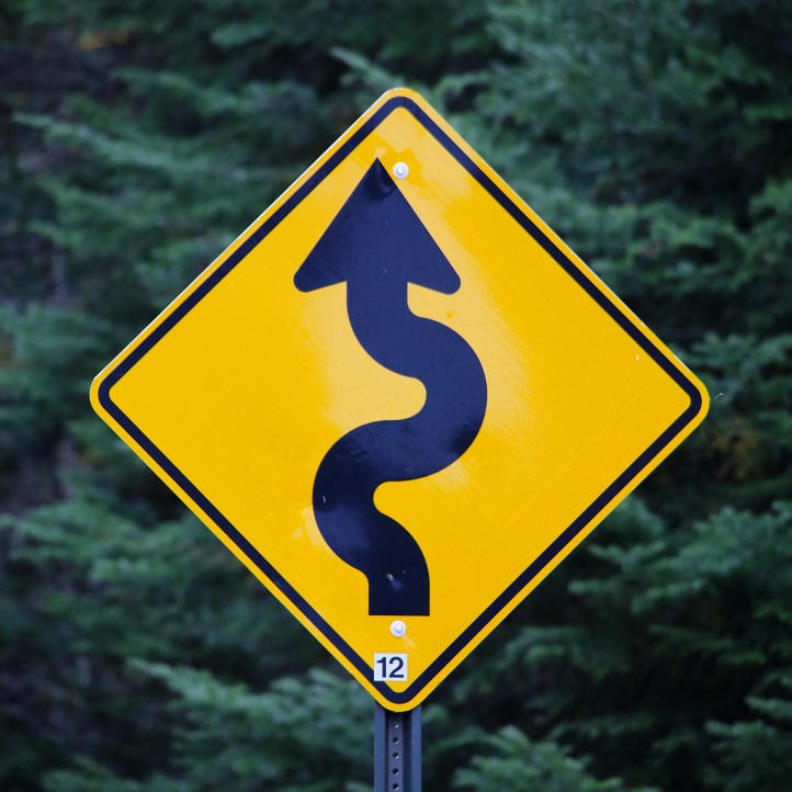 Road sign curve path