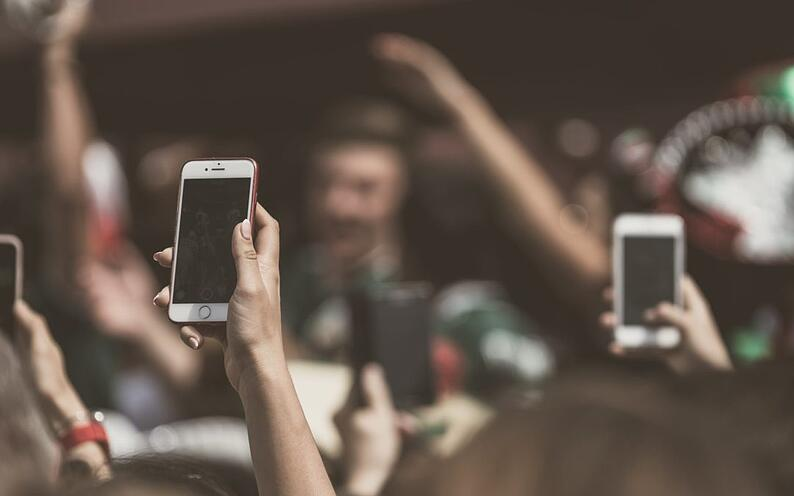 Phones at an event