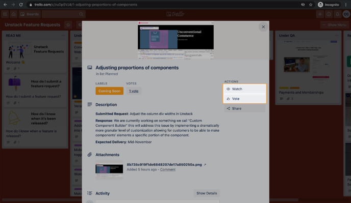 Adjusting proportions of components on Unstack Feature Requests  Trello 2020-10-12 at 4.50.24 PM