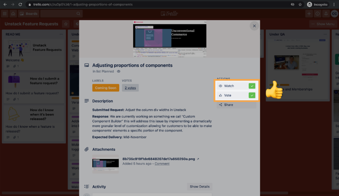 Adjusting proportions of components on Unstack Feature Requests  Trello 2020-10-12 at 4.50.56 PM