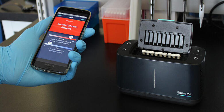 Franklin portable thermocycler being used with Iphone program to detect virus or bacteria