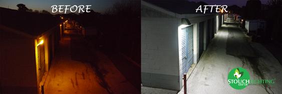 Before After LED Retrofit for Storage Unit