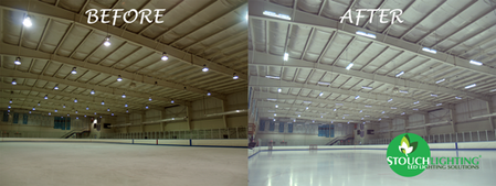 BEFORE AFTER LED Retrofit Ice Hockey Rink