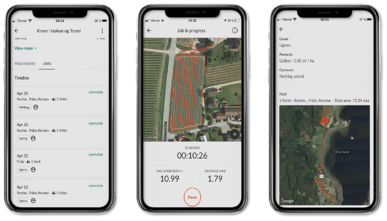 spray log with GPS-track in app