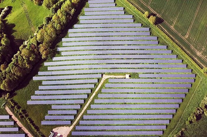 aerial view of solar pv plant