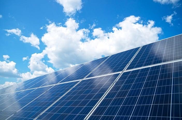 solar panels facing the light