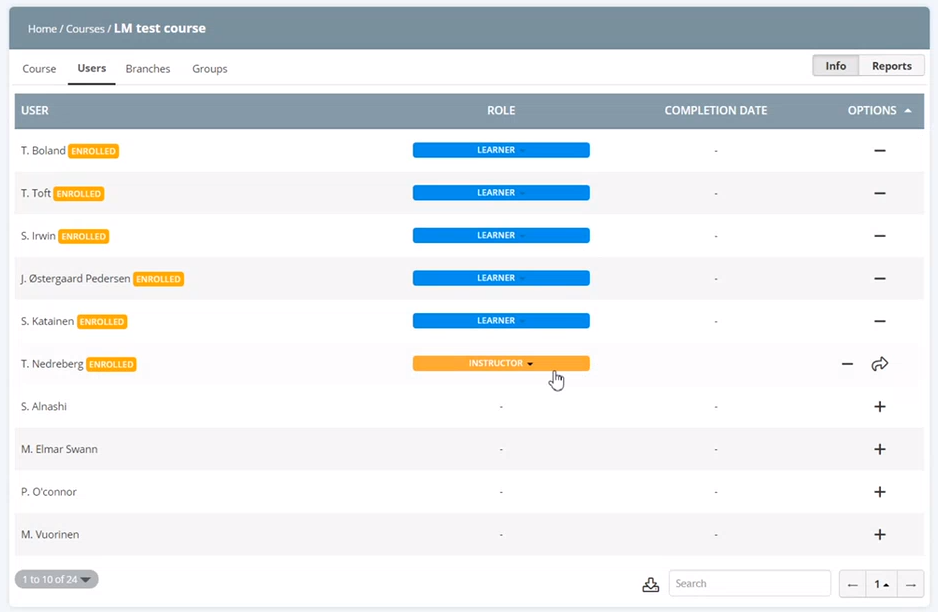 Add users and define roles in Learning Manager