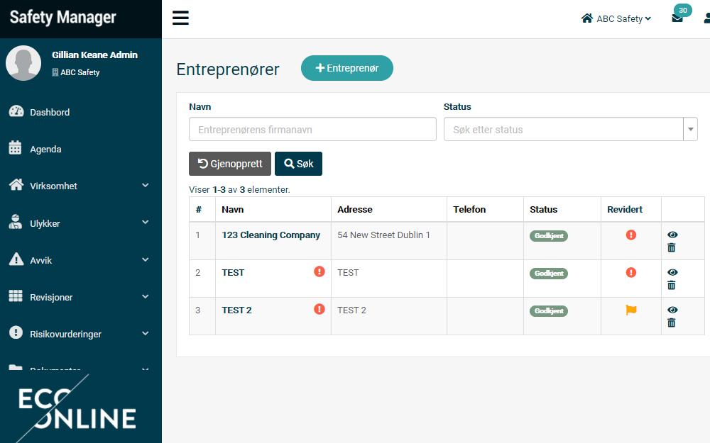 Safety Manager lar deg spore og administrere entreprenørgodkjenninger med sine integrerte moduler