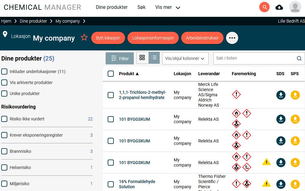 Samle all informasjon om dine kjemikalier på ett sted i EcoOnlines digitale stoffkartoteksted