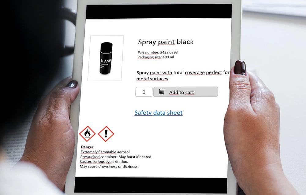 Suora linkitys verkkokaupan tai tuoteluettelon tuotteista käyttöturvallisuustiedotteisiin