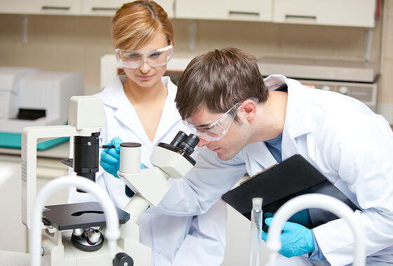 Two scientists observing something with a microscope in their laboratory
