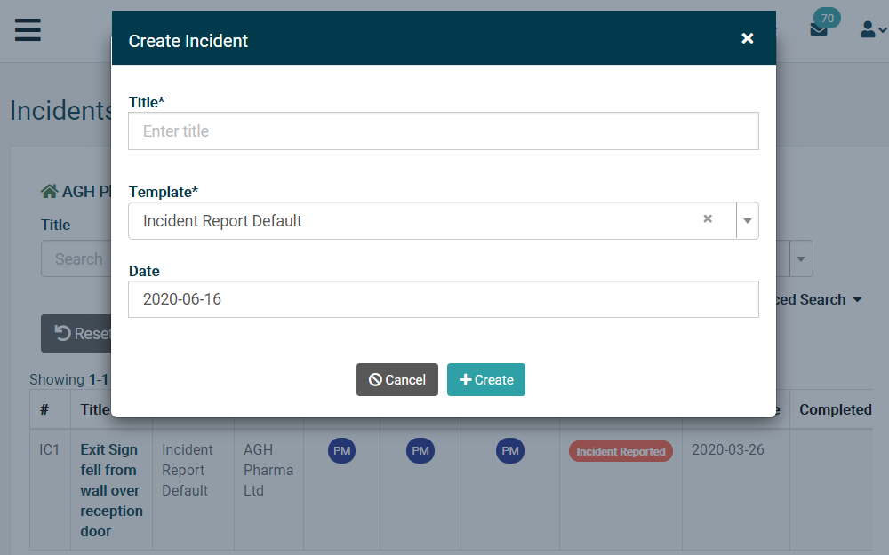 Computer screen showing how to create an incident management template