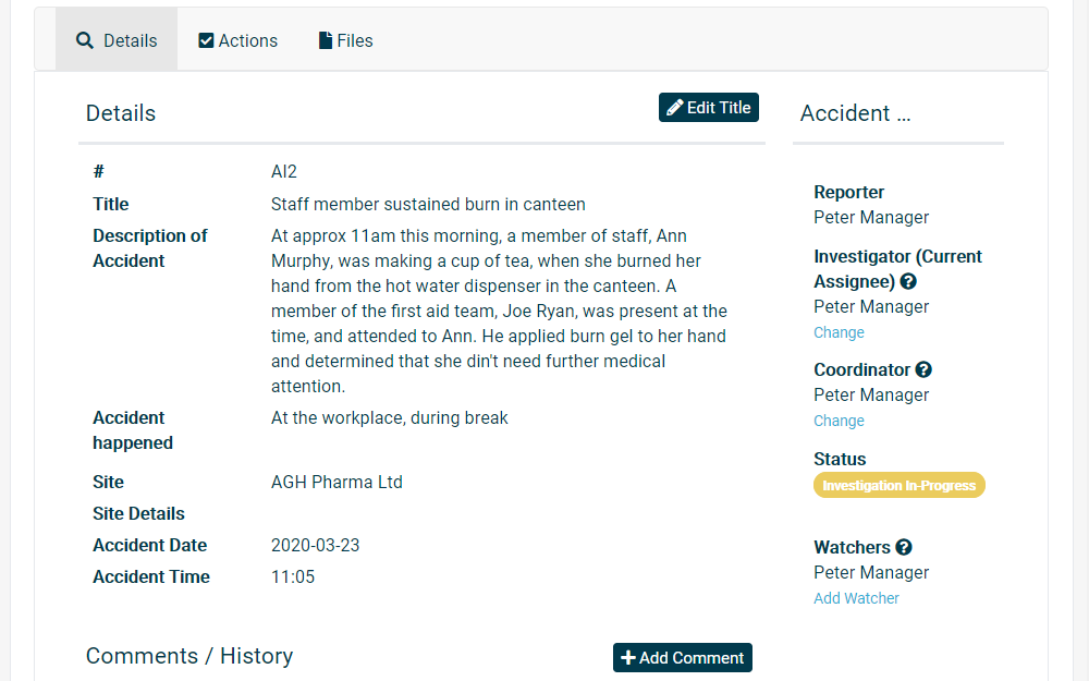 Computer screen showing full traceability on all accidents and accident history in your organisation.