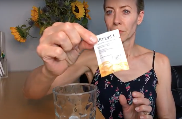Alice Hart-Davis with a sachet of Altrient
