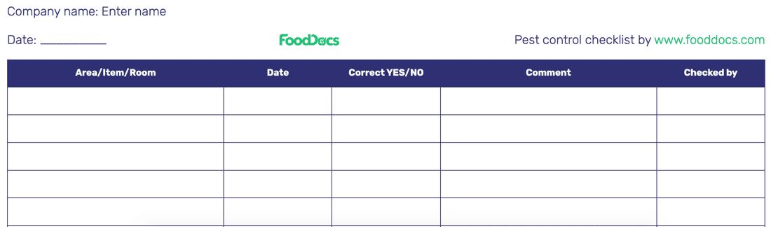 Pest control checklist template