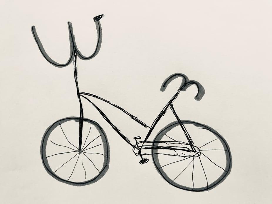 Zeichnung eines Fahrrads aus der woom Malaktion